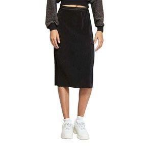 NWT Wild Fable Bodre Pleat Midi Skirt Large Black